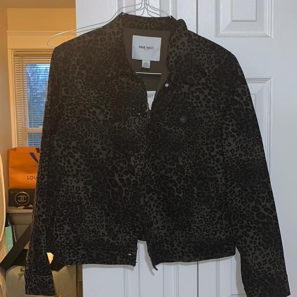 Dark leopard print denim jacket